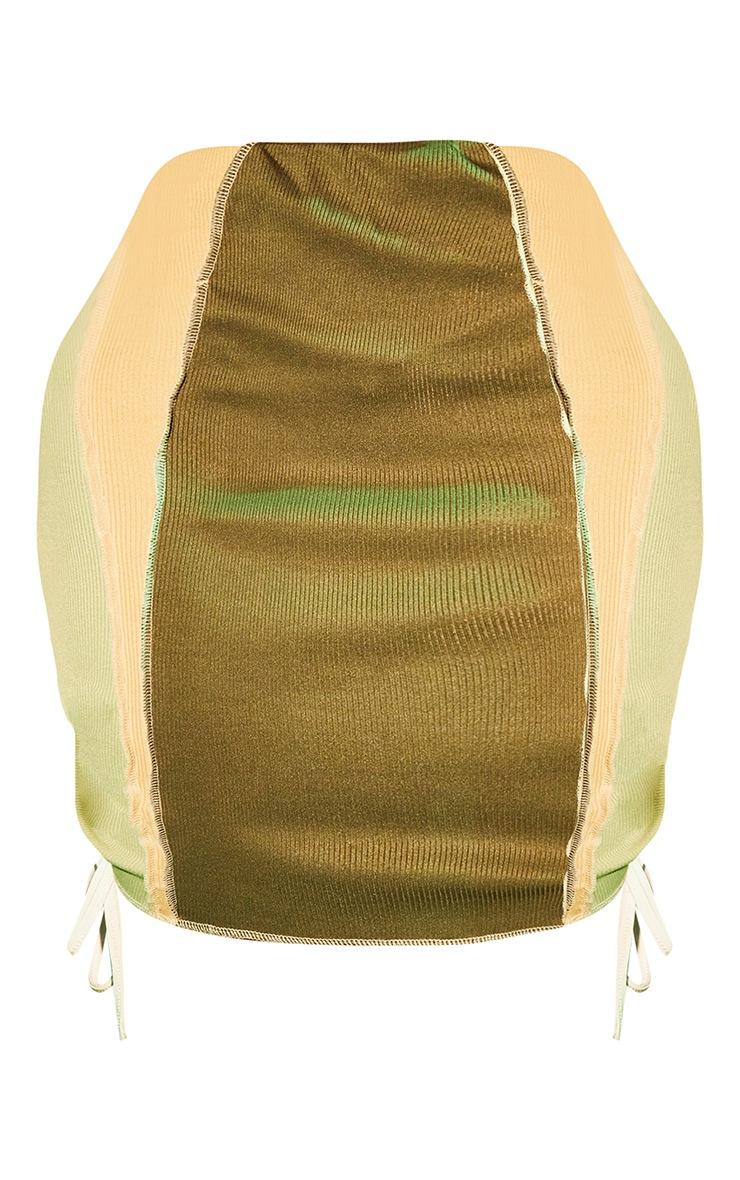 Shape Khaki Rib Panel Overlock Lace Up Side Bodycon Skirt 6
