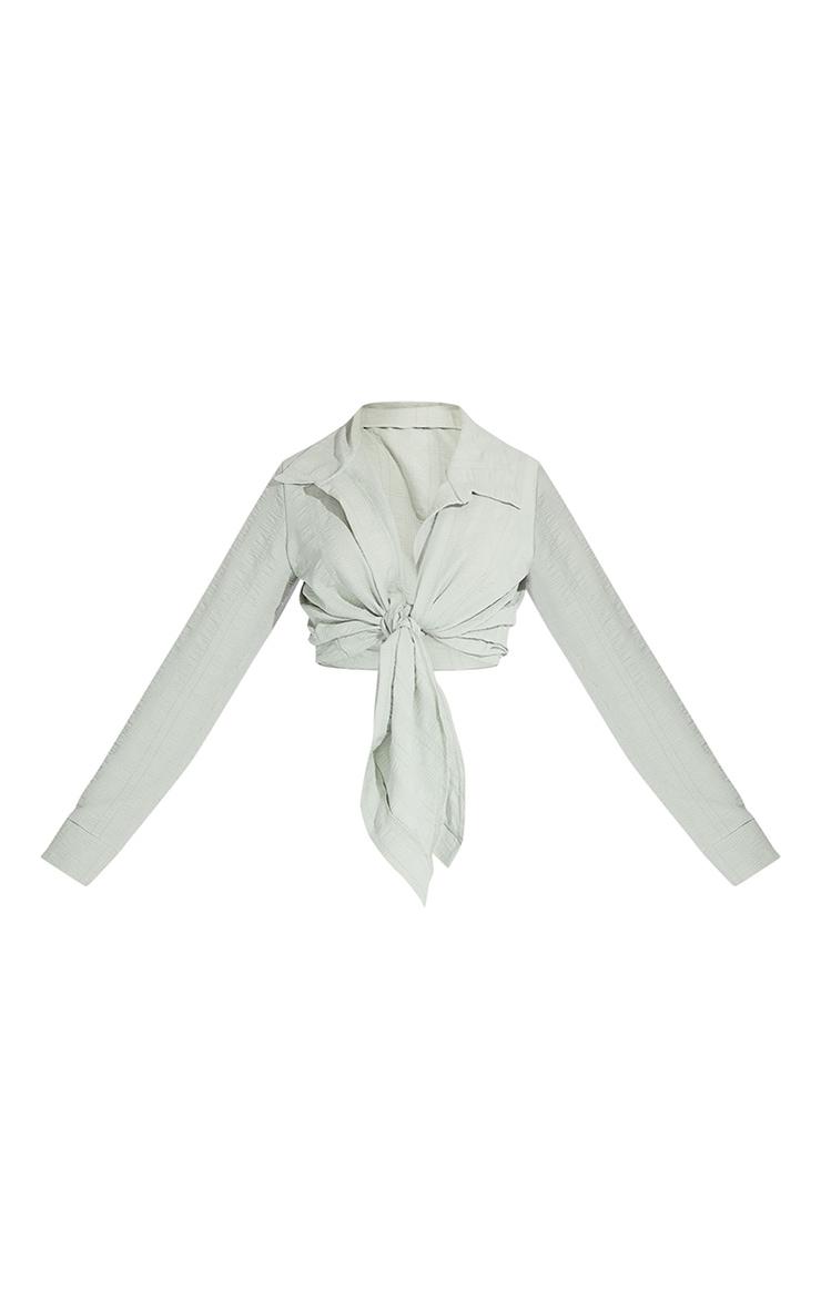 Sage Green Textured Tie Front Shirt 5