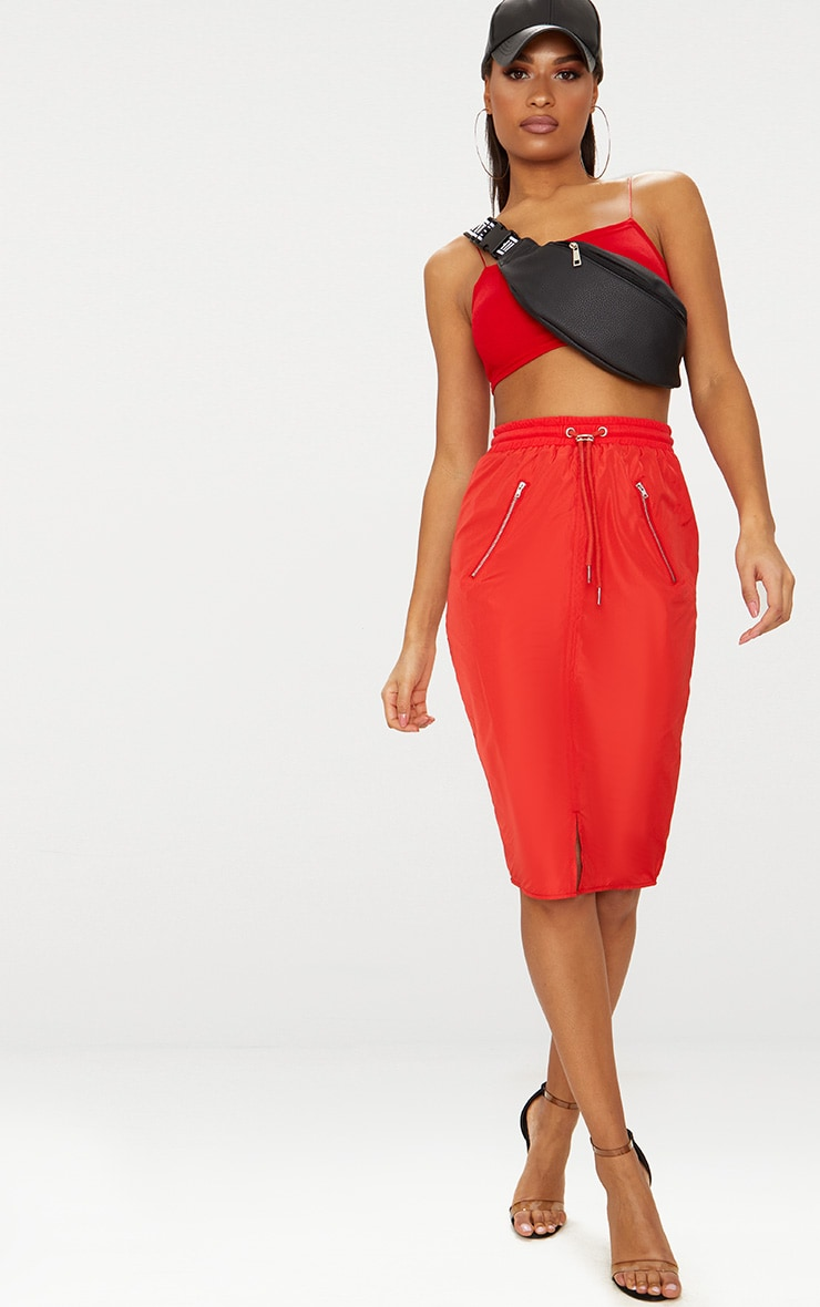 Red Shell Drawstring Midi Skirt
