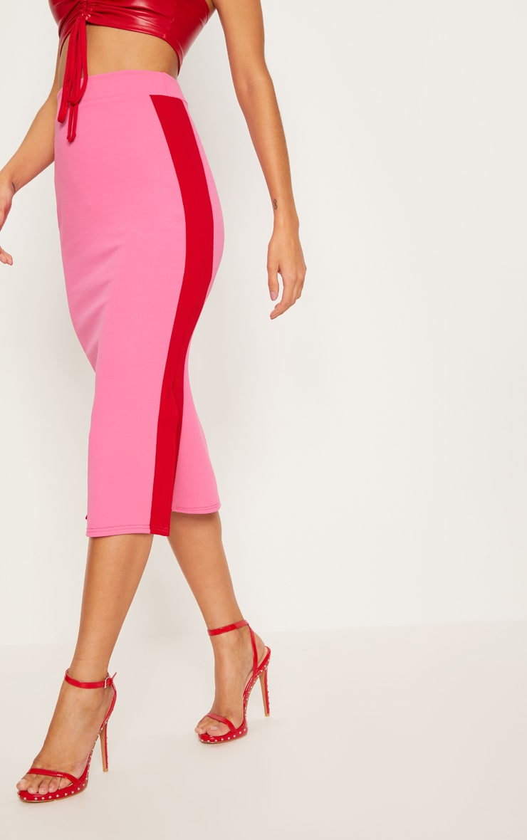 Hot Pink Contrast Side Stripe Split Hem Midi Skirt 2