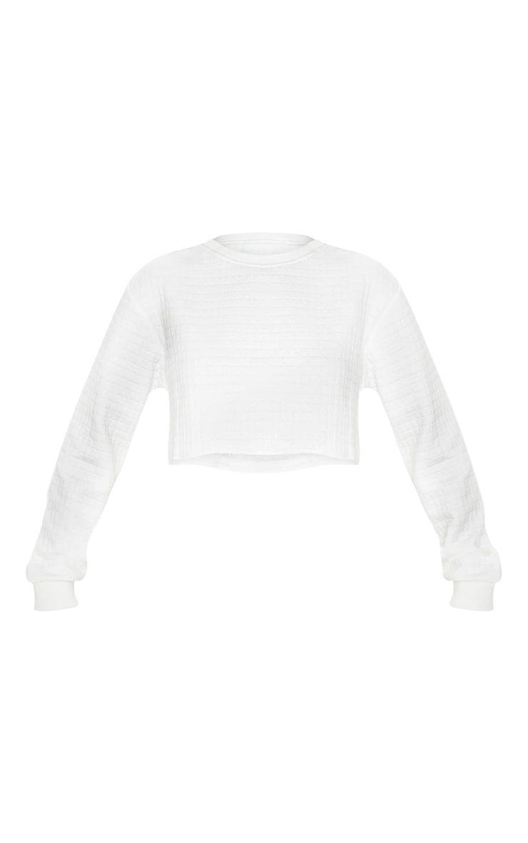 Cream Textured Crop Sweater 3