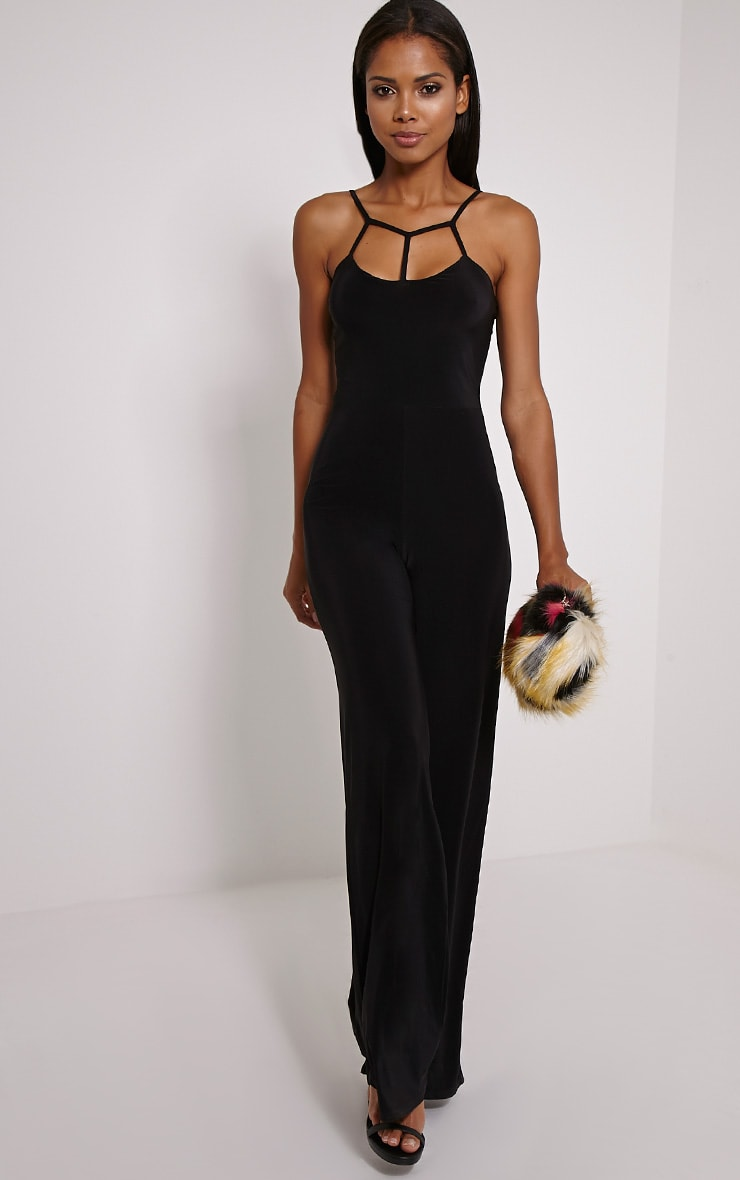 Reya Black Slinky Caged Detail Jumpsuit 1