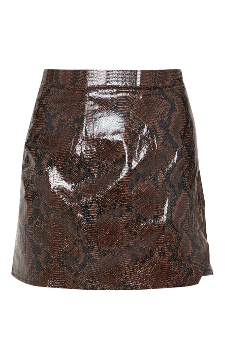 Black Snakeskin Wrap Mini Skirt 3