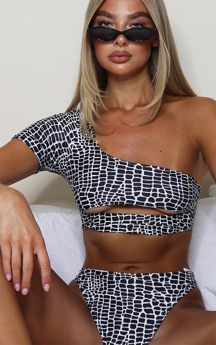 Monochrome Snake Elasticated Cut Out One Shoulder Bikini Top 4