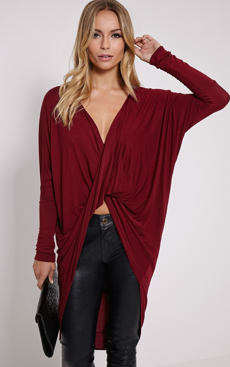 Chastity Wine Long Twist Front Top 4