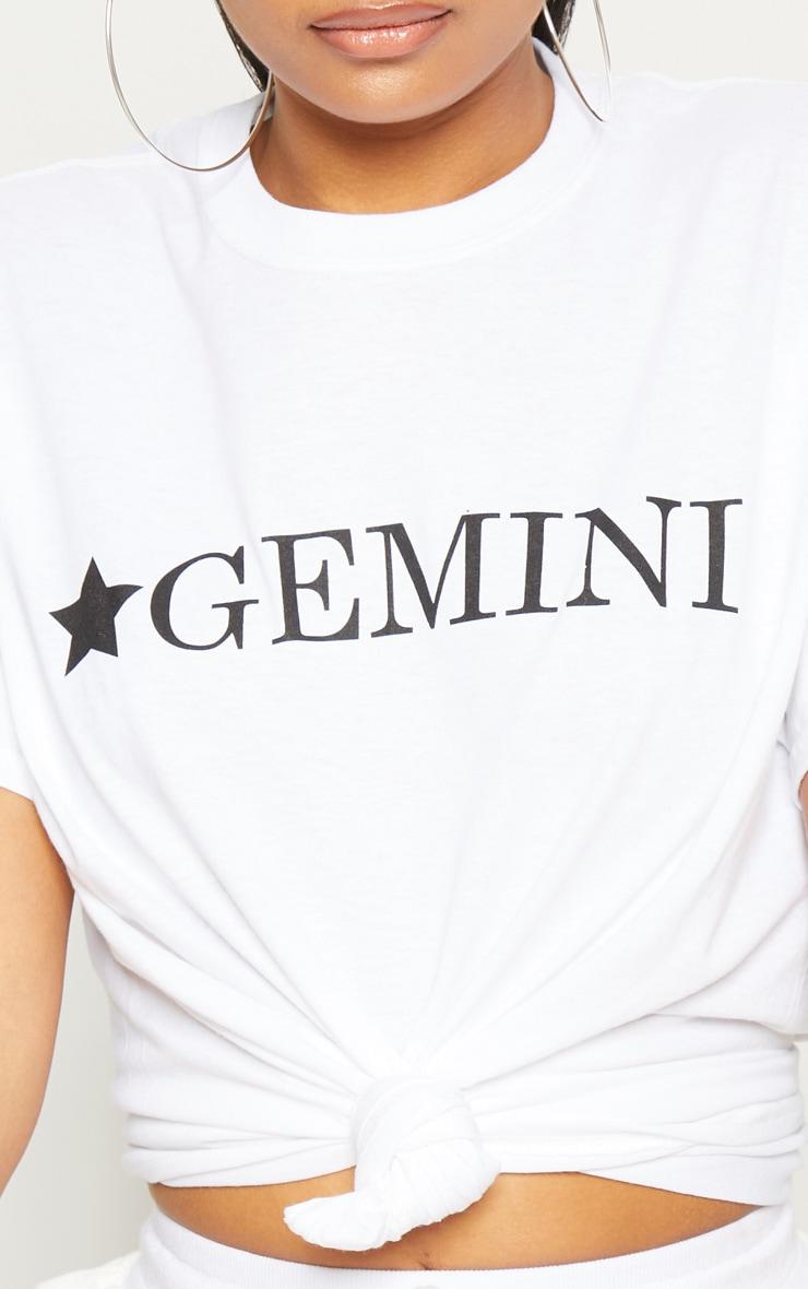 White Gemini Star Sign Slogan Oversized T Shirt  5