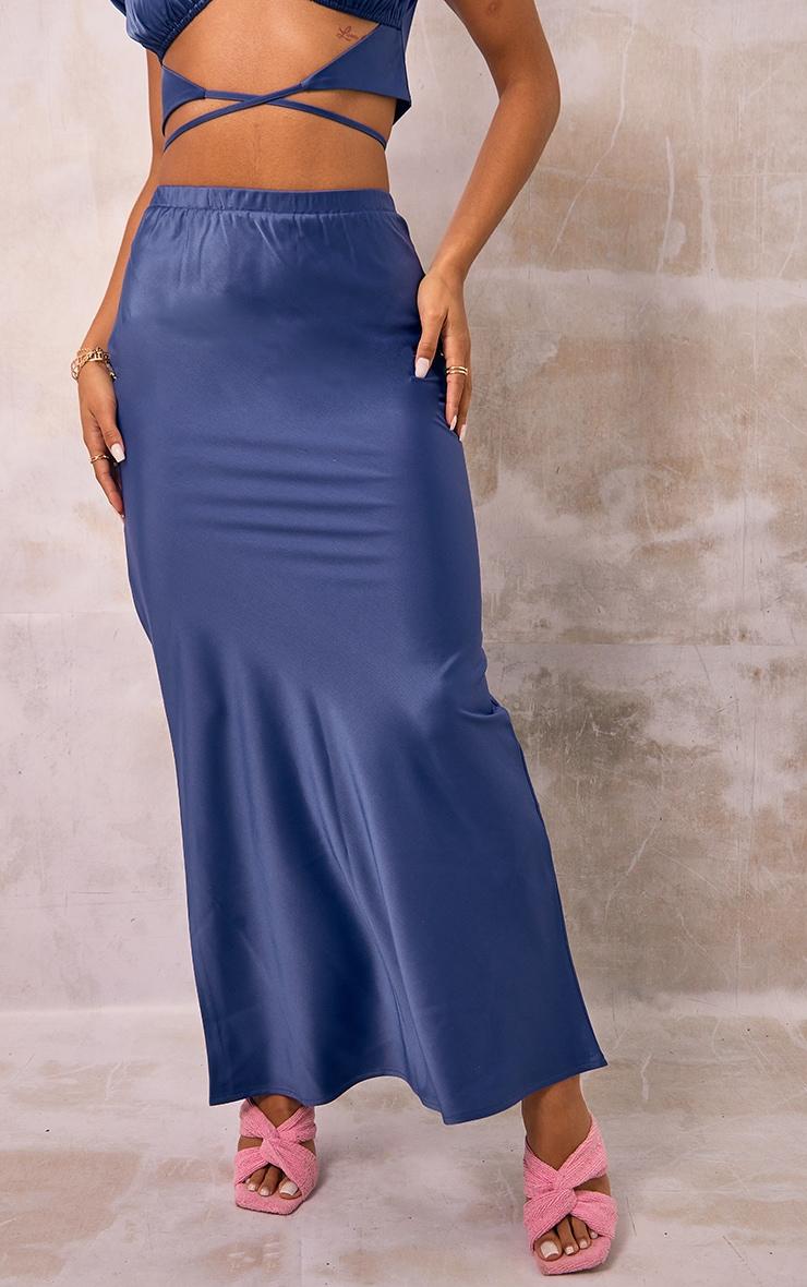 Blue Satin Maxi Skirt 2