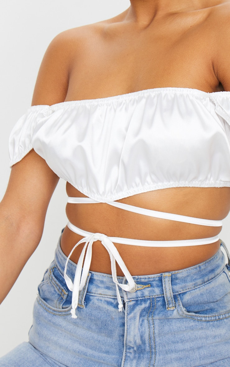 White Satin Bardot Tie Detail Crop Top 4
