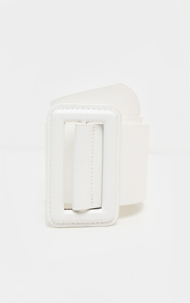 White Covered Buckle Wide Belt 2