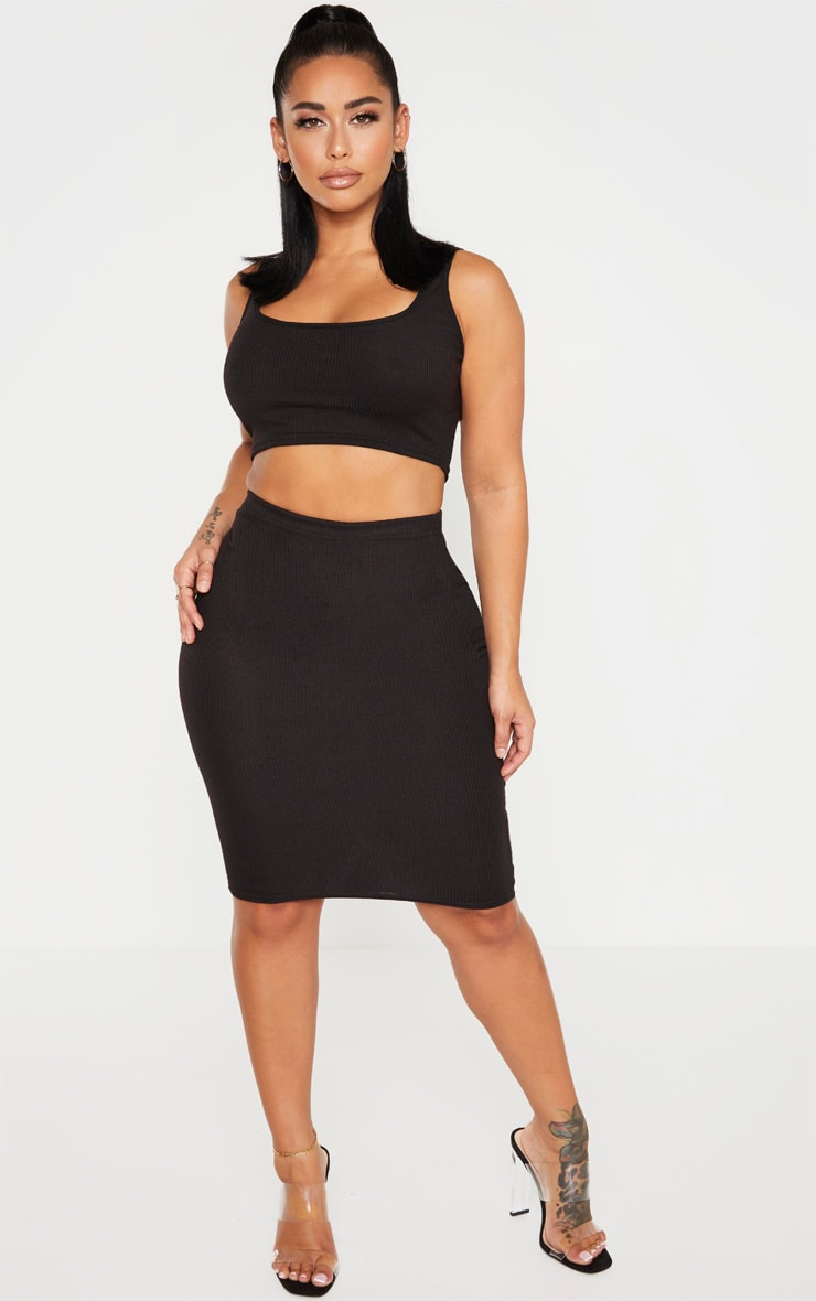 Shape Black Ribbed Basic Midi Skirt 1