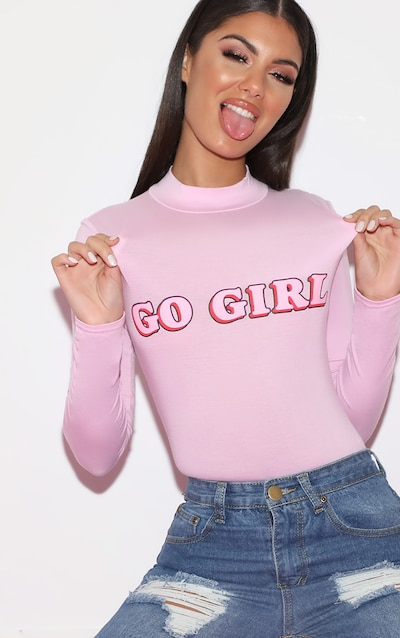 916cae0f45ae Body col montant rose tendre imprimé Go Girl à manches longues
