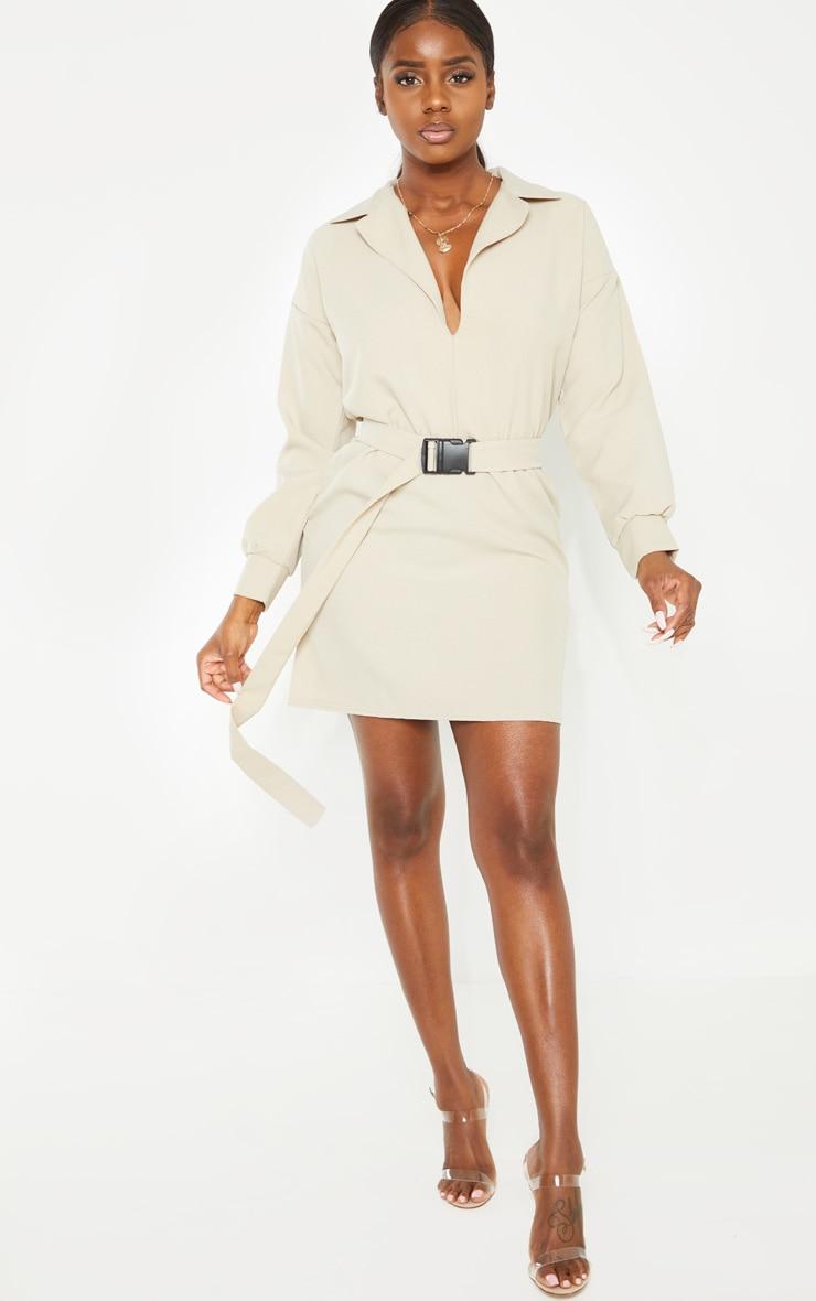 Petite Stone Belt Detail Cargo Shirt Dress 3