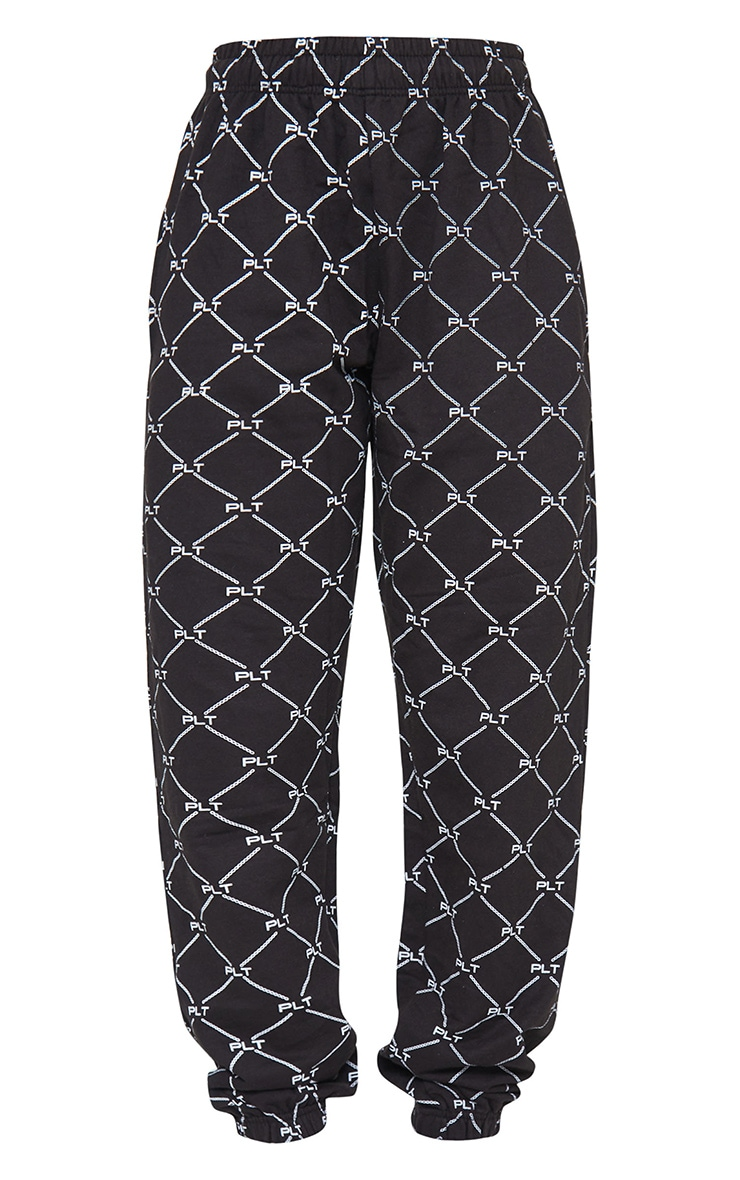 PRETTYLITTLETHING Black Repeat Print Joggers 5