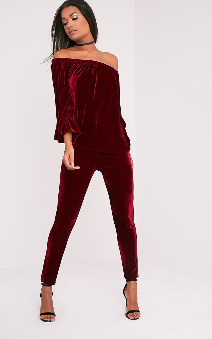 Evalyn Wine Velvet Cigarette Trousers 1