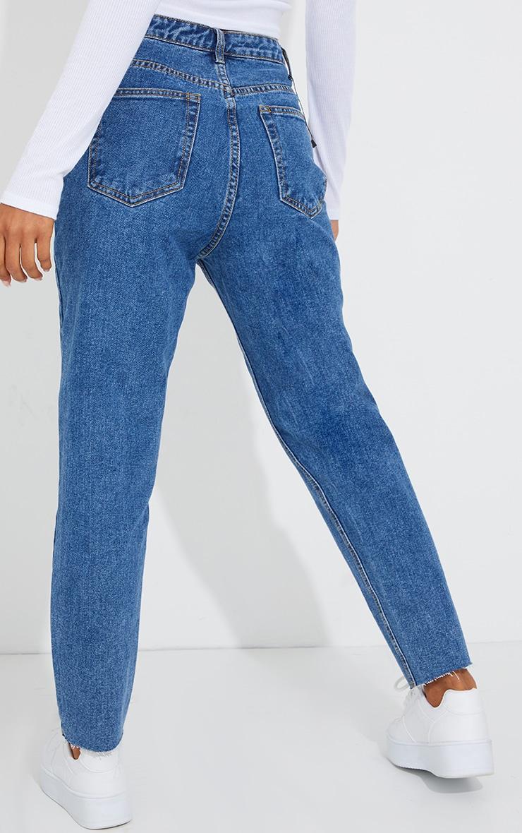PRETTYLITTLETHING Mid Blue Wash Raw Hem Cropped Slim Mom Jeans 3
