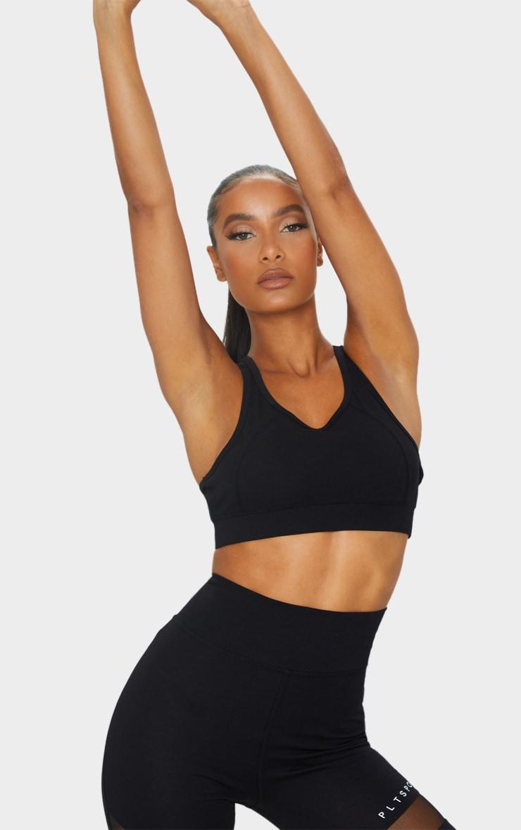 Black Soft Yoga Mesh Back Sports Bra 1