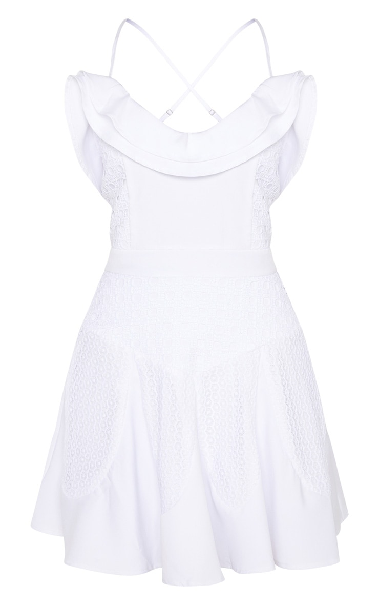 White Ruffle Detail Skater Dress 3