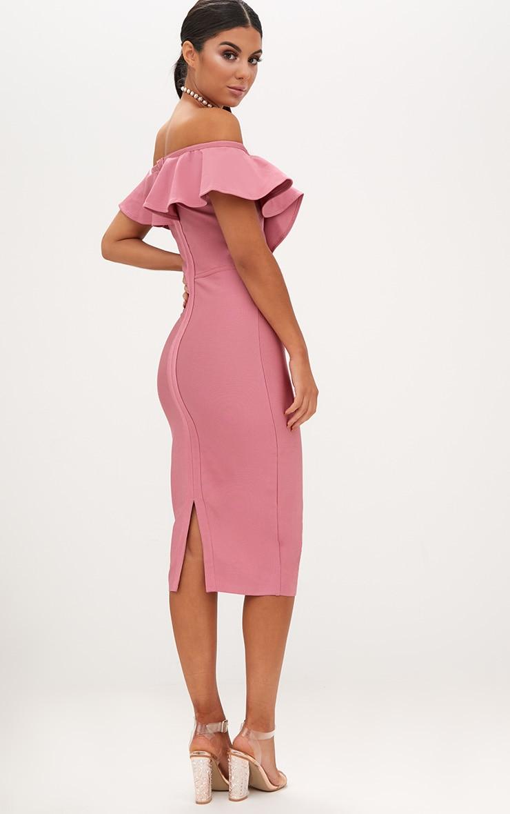 Rose Bardot Frill Lattice Detail Midi Dress 2