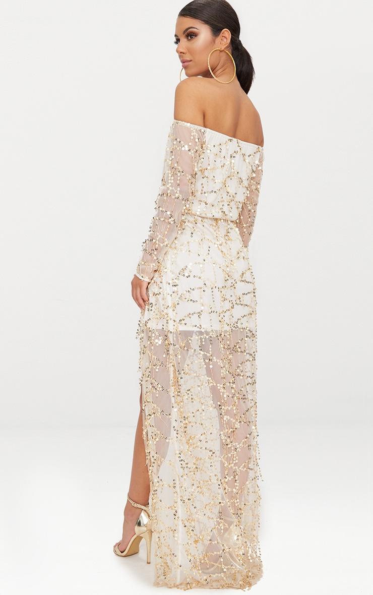 Nude Bardot Sequin Wrap Maxi Dress 2