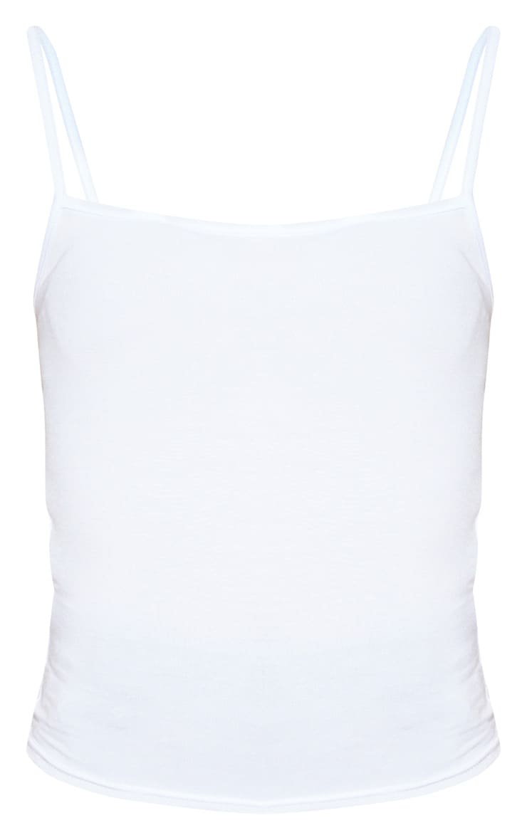 White Basic Square Neck Strappy Top 3