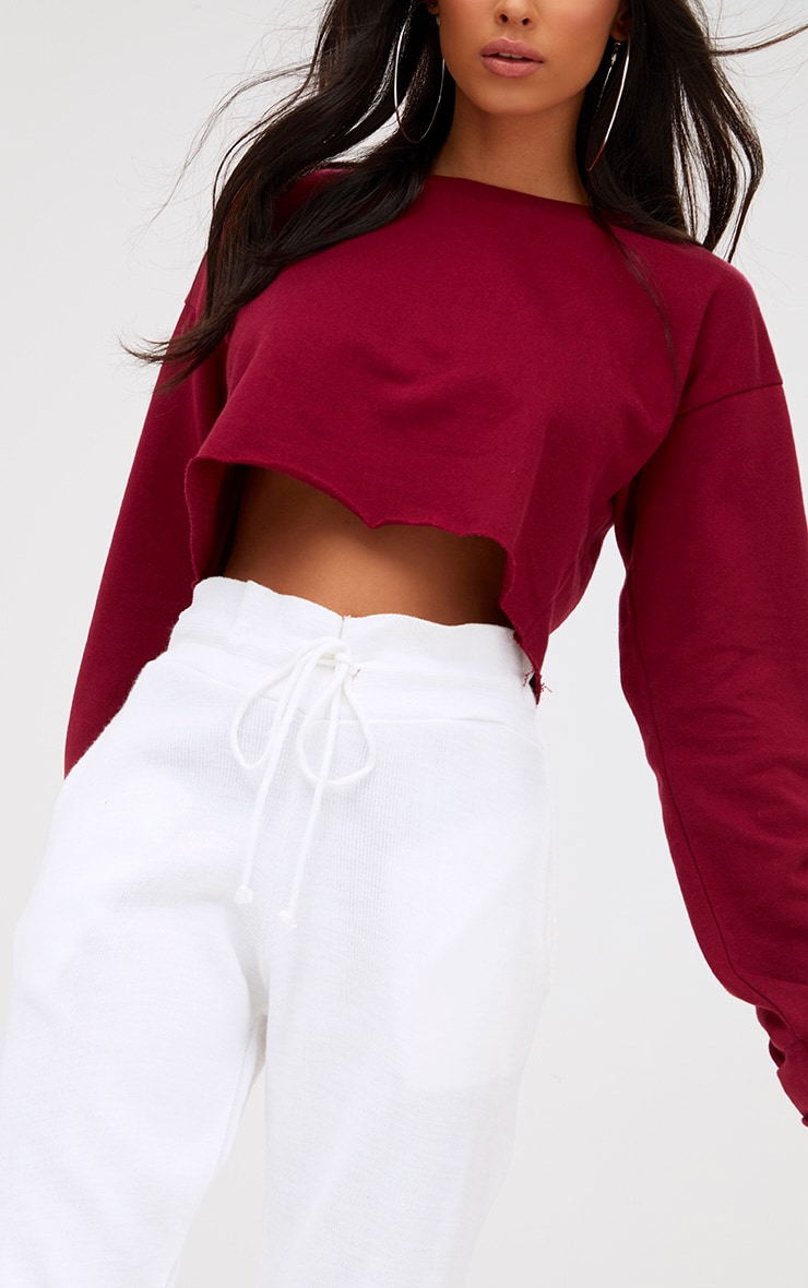 Maroon Cut Off Crop Longsleeve Sweater 5