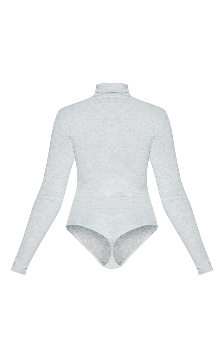 Essential Black & Grey Marl Cotton Blend Roll Neck Bodysuit 2 Pack 6