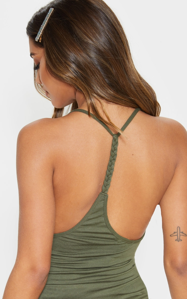 Khaki Plaited Back Bodycon Dress 5