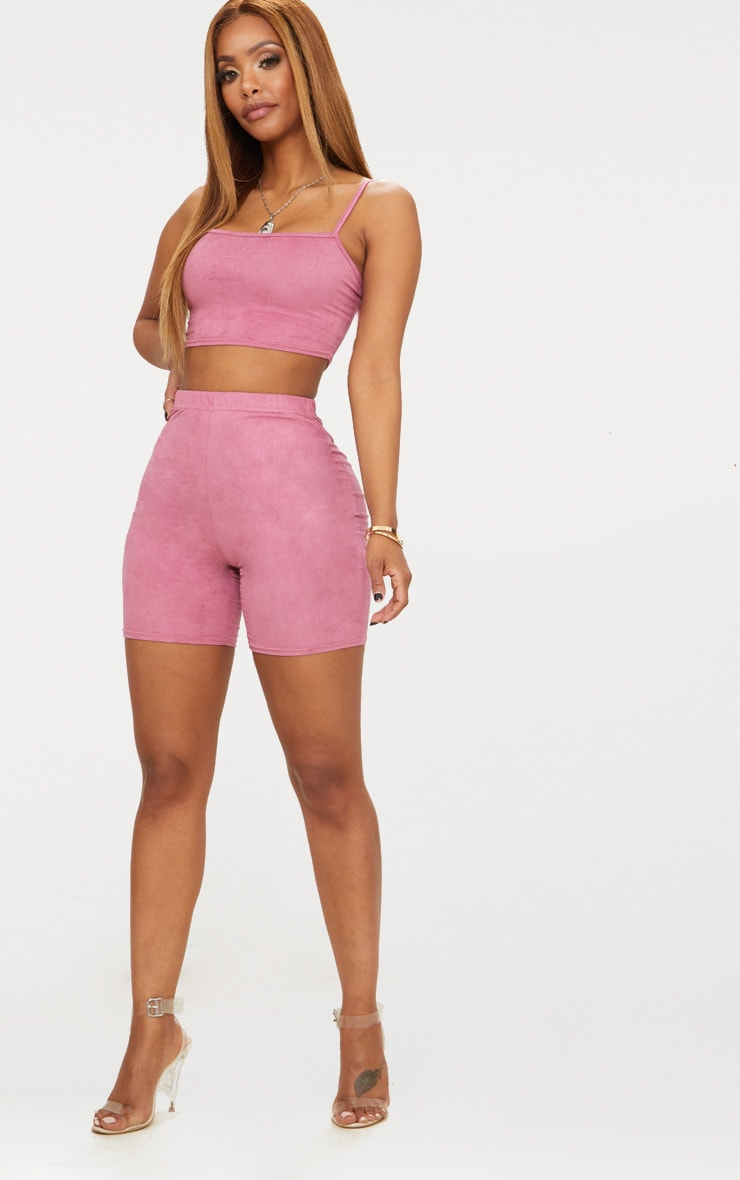 Shape Rose Faux Suede Strappy Crop Top 4