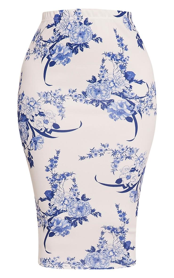 Loran White Porcelain Print Midi Skirt 3
