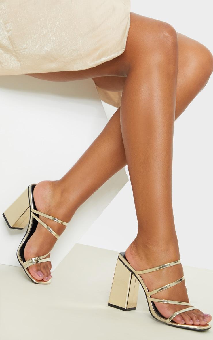Gold Block Heel Strappy Mule Sandal 2