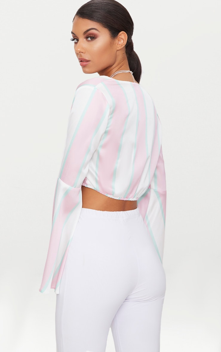 White Satin Bold Stripe Flare Sleeve Blouse  2