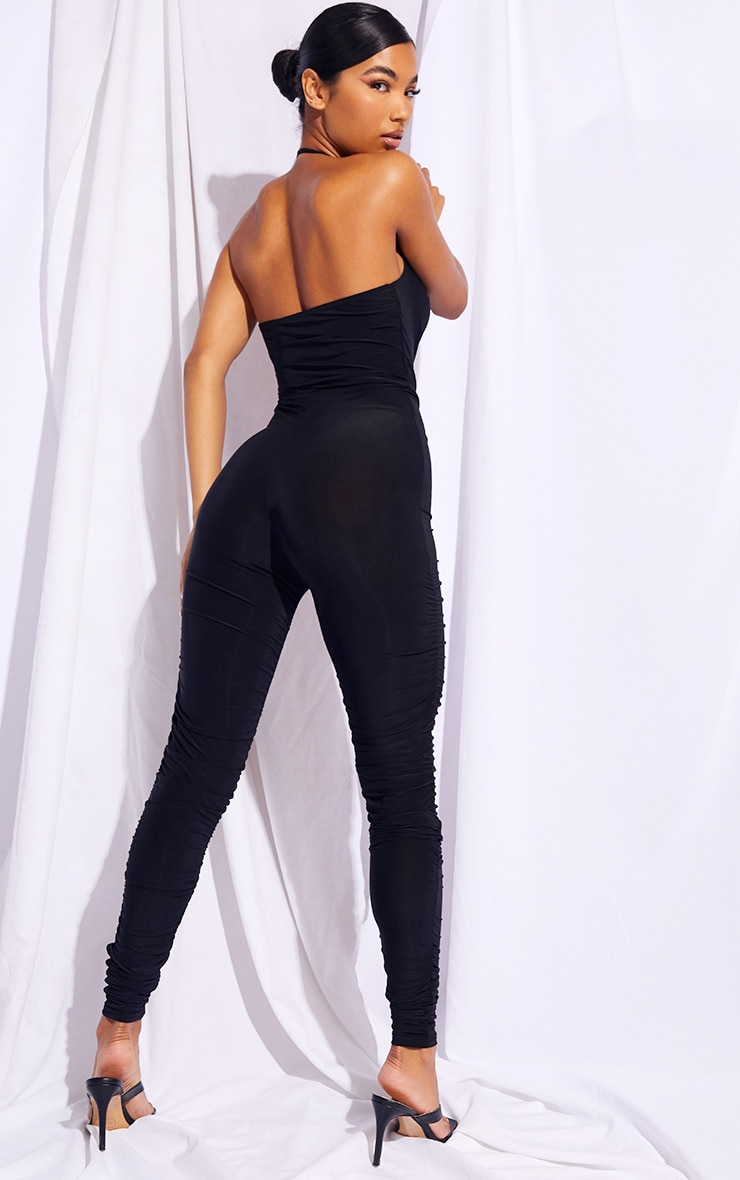 Black Chain Detail Halterneck Slinky Jumpsuit 2