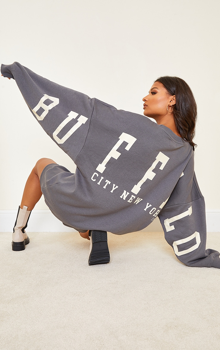 Robe sweat gris anthracite à slogan Buffalo New York 1