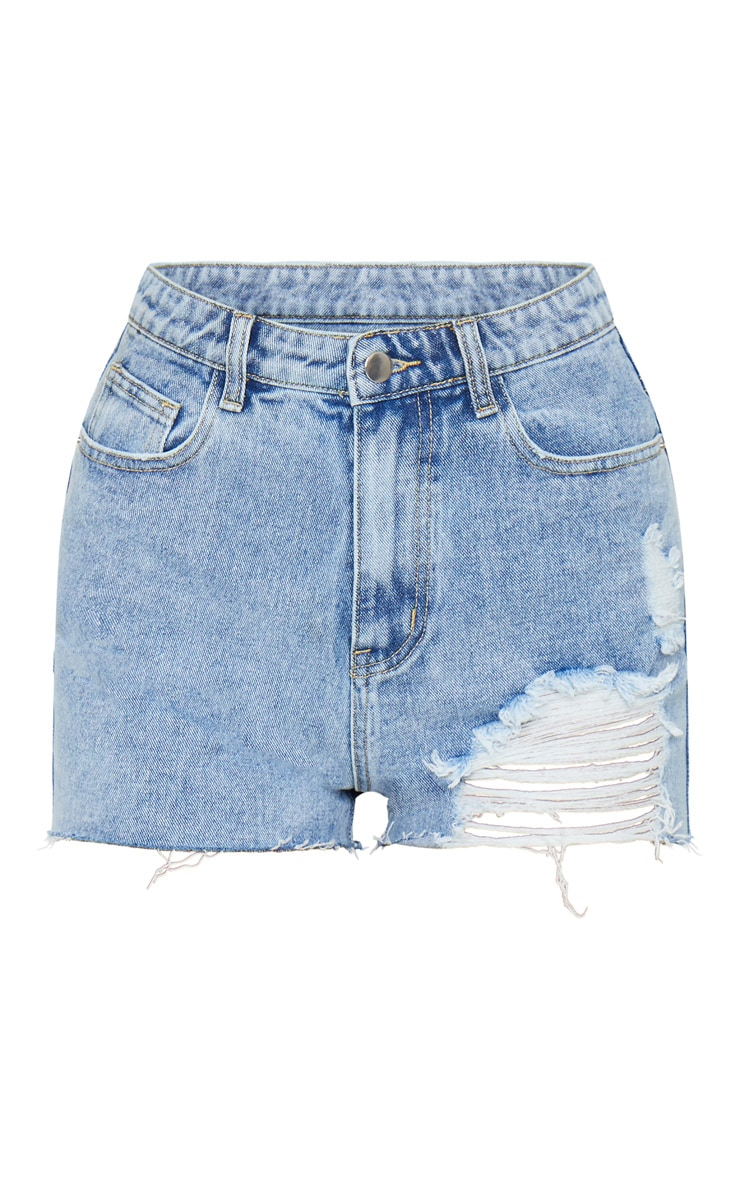 PRETTYLITTLETHING Vintage Wash Distressed Denim Mom Shorts 6