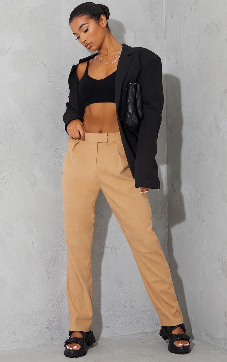 Tan Premium Twill Blend Straight Leg Trousers 1