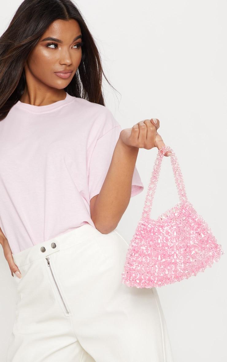 Pink Beaded Hand Bag  1