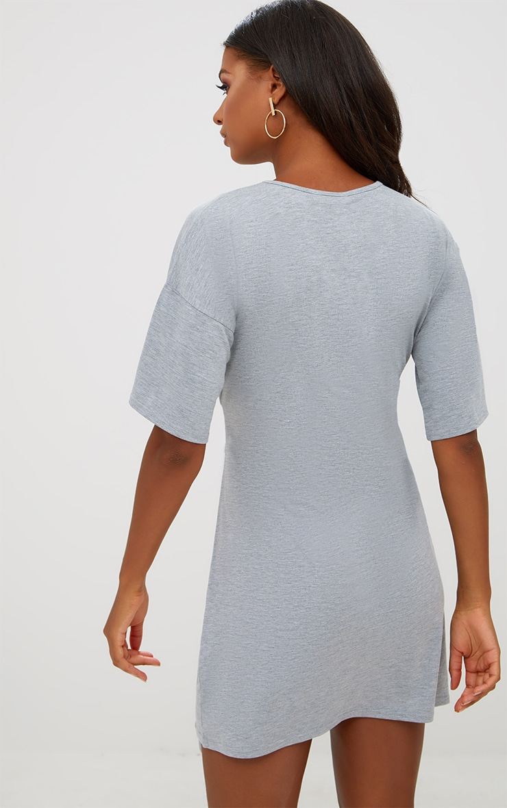 Grey Tie Waist T Shirt Dress 2
