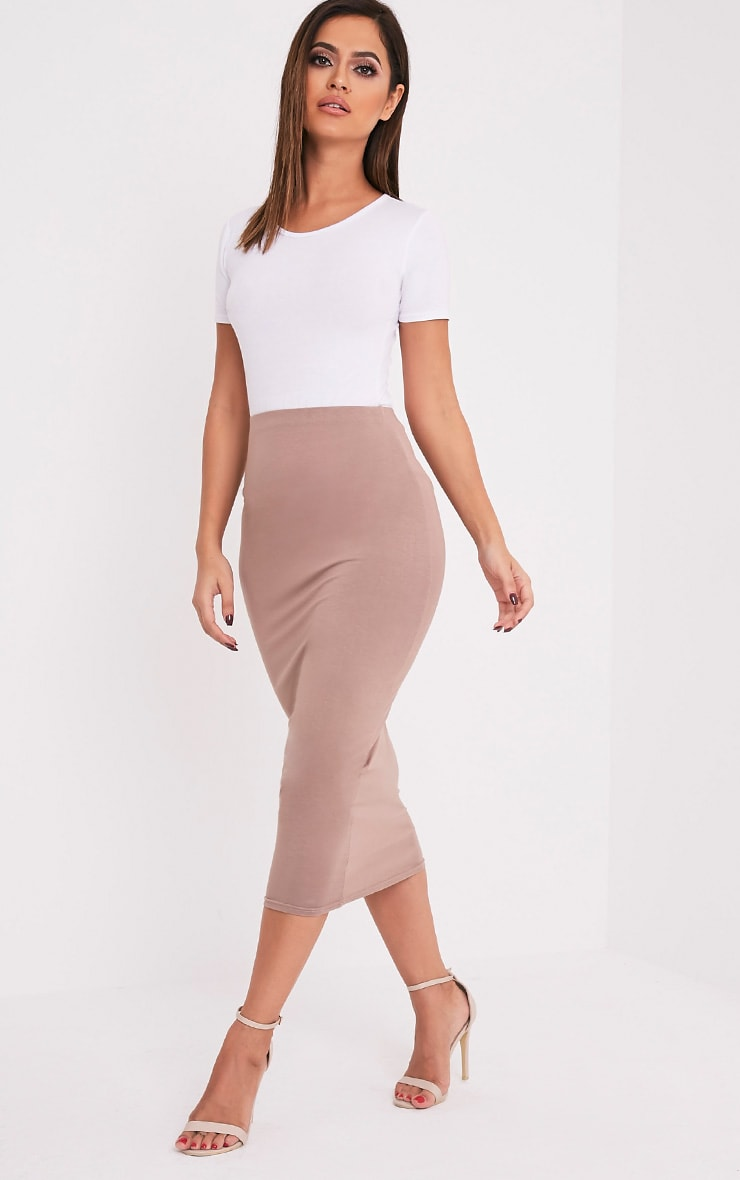 Basic Taupe Long Line Midi Skirt