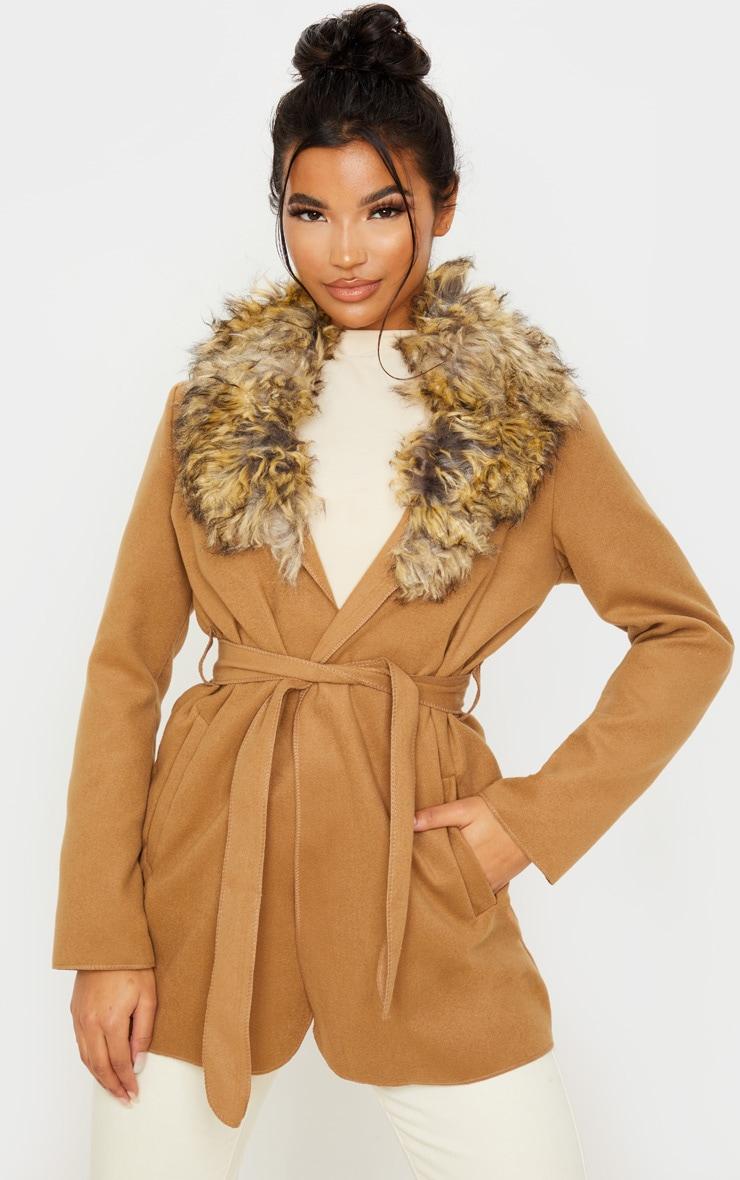 Lydia Camel Faux Fur Trimmed Belted Coat 1