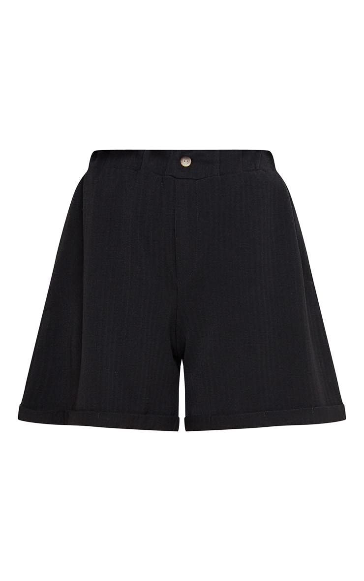 Black Turn Up Hem Tailored Short 3
