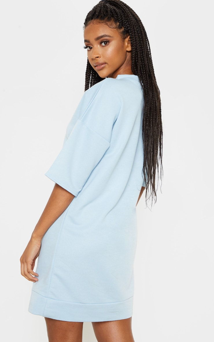 Baby Blue Short Sleeve Sweat T-shirt Dress 2