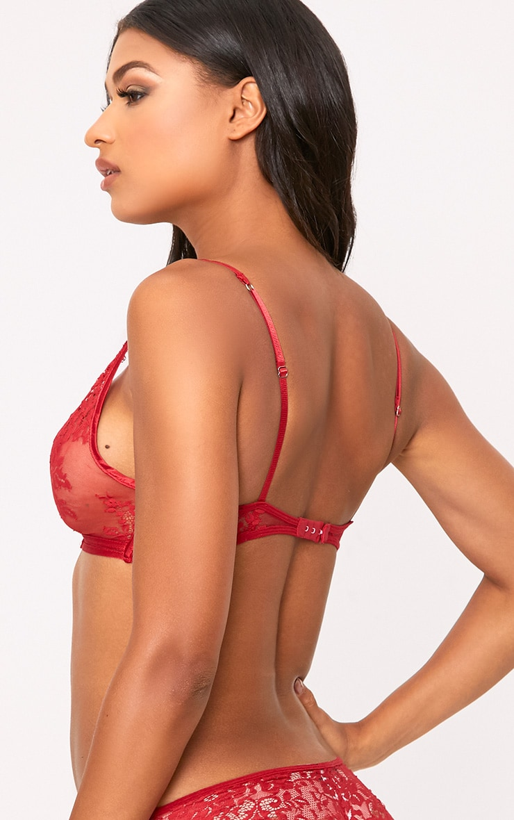 Wendy Red Sheer Lace Soft Bra 2
