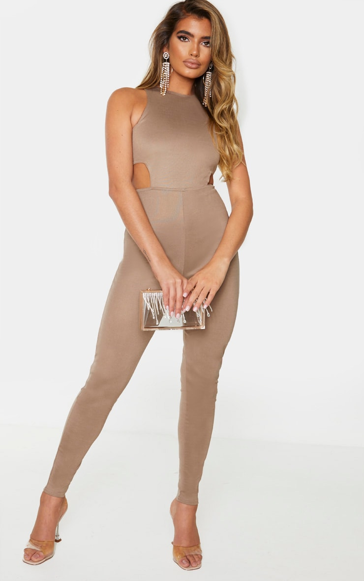 Camel Bandage Cut Out Jumpsuit 1