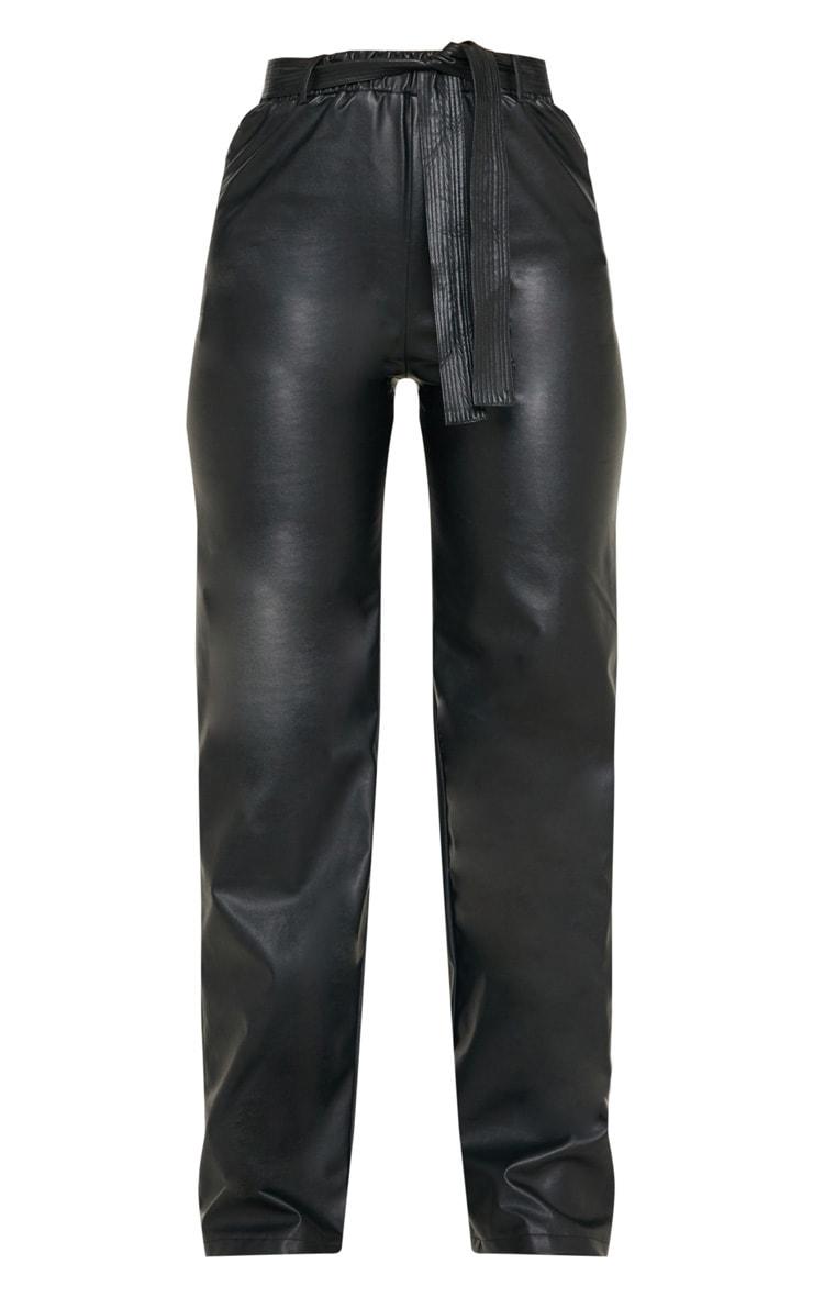 Black Faux Leather Tie Waist Wide Leg Pants 3