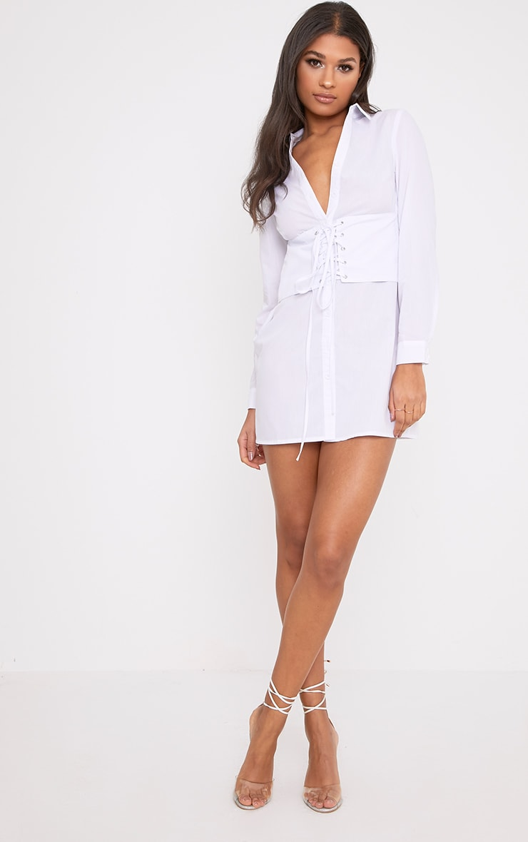 White Corset Lace Up Open Shirt Dress 3