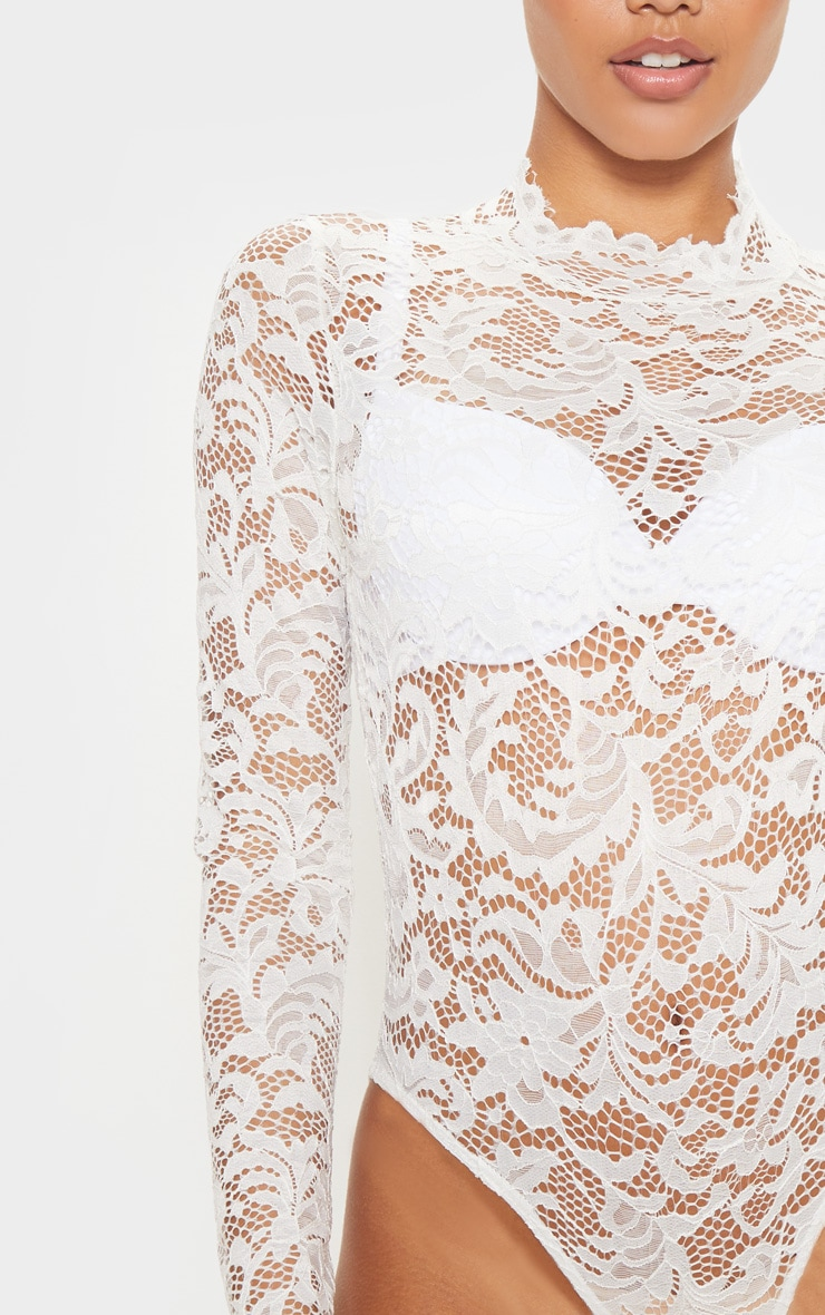 White Sheer Lace Scallop Detail Bodysuit 6