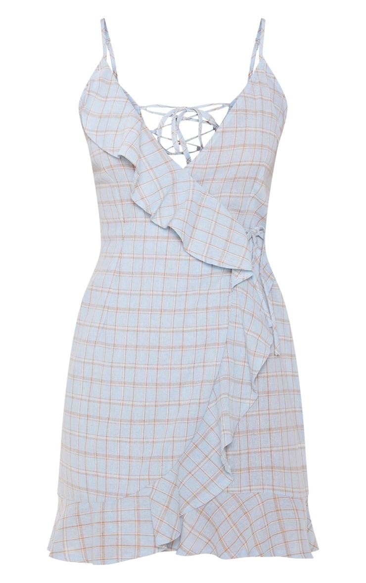 Blue Check Print Lace Up Back Ruffle Tea Dress 3