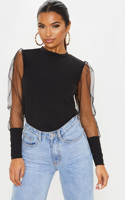Black Fitted Mesh Sleeve Top