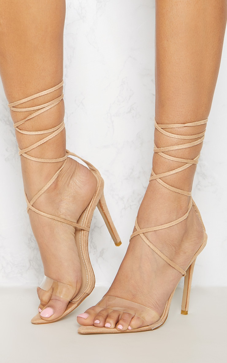 Nude Clear Strap Point Toe Barely There Sandal