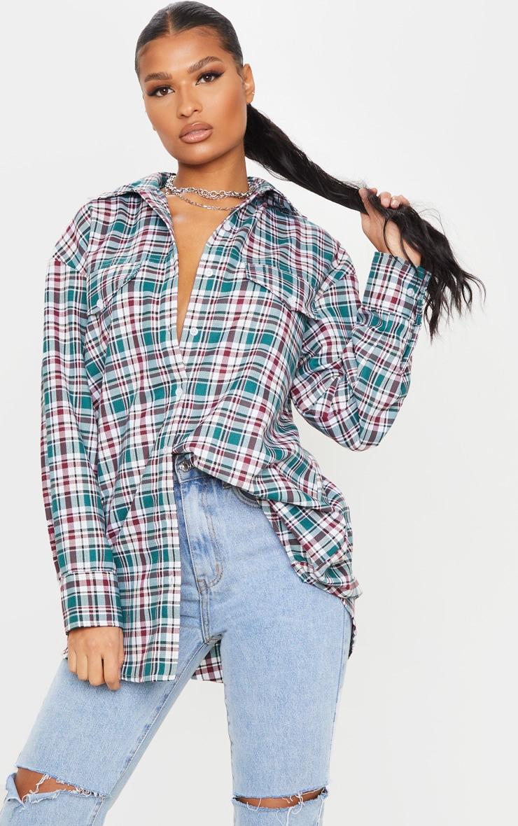Maroon Check Oversized Long Sleeve Dad Shirt 1